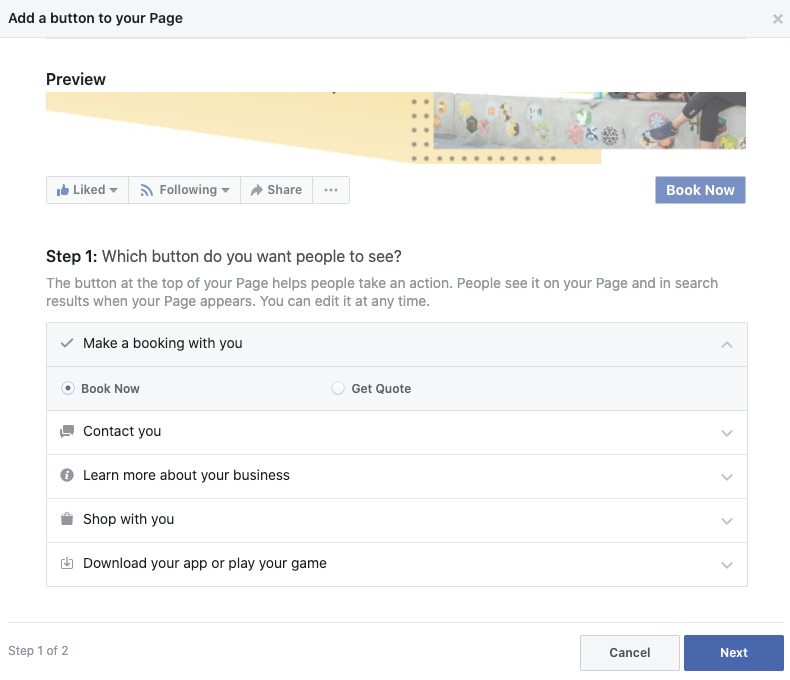 Screenshot of how to add a Book Now button to your facebook Page
