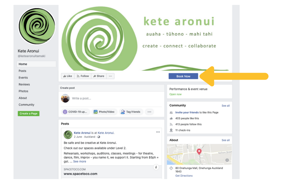 kete aronui use the Book Now button on their Facebook page to streamline their bookings